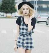 romper,stylemoi,dungaree playsuit in tartan check print,pl,plaid,grunge,fashion,style