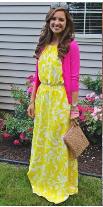 dress yellow dress maxi dress pink cardigan