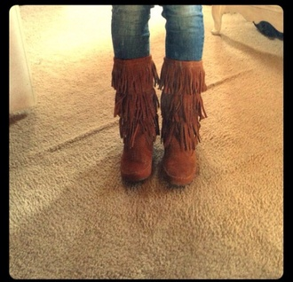 shoes brown boots booties fringes fringe shoes
