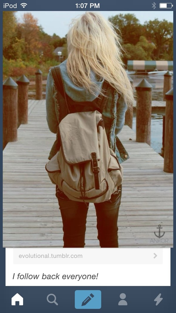 bag white canvas backpack buckles backpack off-white brown bag white bag