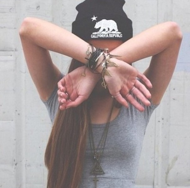 jewels bracelets necklace hipster tumblr cute pretty hat california republic