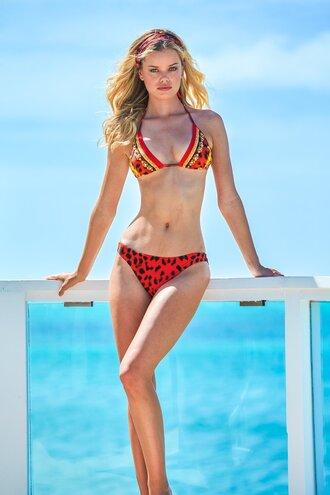 swimwear triangle bikini bikini top bikini bottoms red swimwear