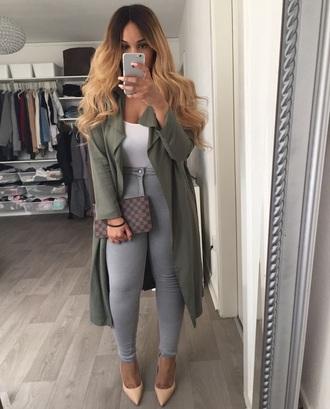 coat heels jeans