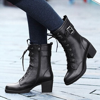 shoes boot zip lace up pure color