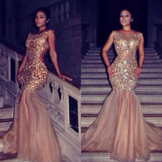dress gold prom dress long prom dress glamourous see through mermaid jacket jeans