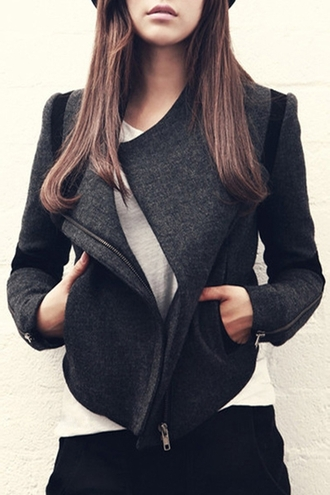 coat jacket grey black warm cozy fall outfits fashion style casual winter outfits long sleeves clothes outfit black coat zaful winter coat