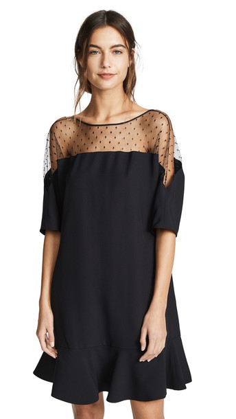RED Valentino Sheer Dot Flounce Dress in nero
