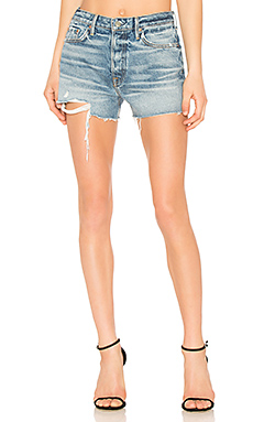 GRLFRND Helena High-Rise Straight Leg Cut Off Short in Rain Drop from Revolve.com