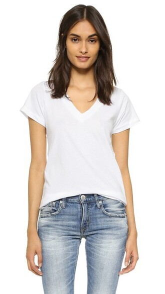 short v neck white top