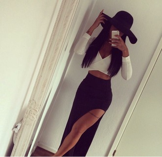 skirt maxi dress black white hat tattoo asian fashion