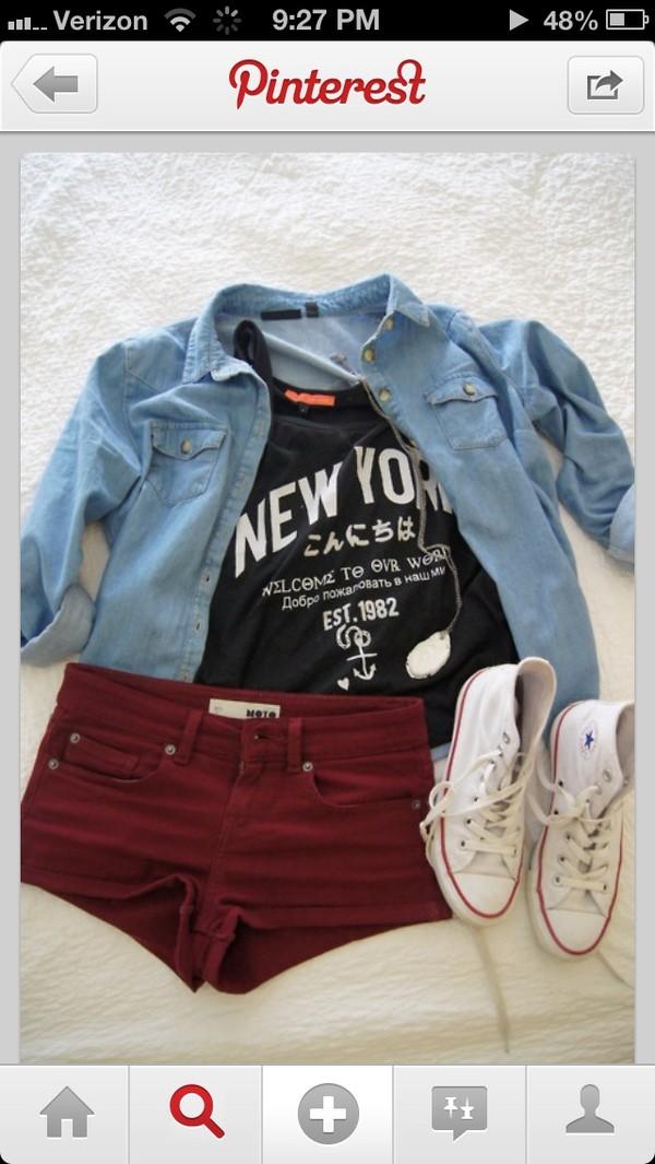 t-shirt shirt burgundy shorts shirt
