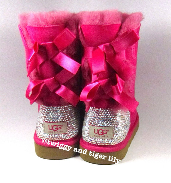 Ugg bailey bow hot pink sheepskin boots with by twiggyandtigerlily