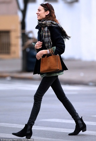 shorts chelsea boots black booties black shoes chelsea fall outfits shoes boots black boots velvet ankle boots ankle boots velvet velvet shoes velvet boots jeans black jeans alexa chung fashionista coat black coat handbag brown bag bag scarf tartan plaid winter outfits