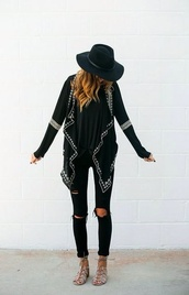 jeans,black,destroyed high wasted,cardigan,boho,boho chic,bohemian,sandals,black cardigan,long cardigan,ripped jeans,style,jacket,indie,clothes,top,fashion,shoes,waterfall jacket,embroidered,black sweater