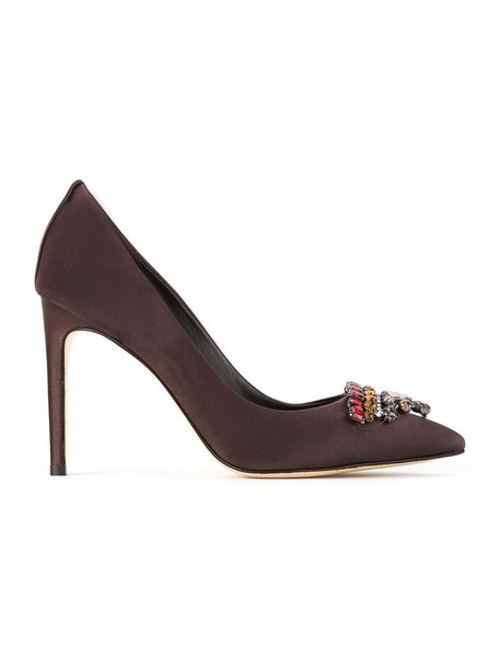 Sarah Chofakian pointed toe pumps women embellished pumps brown shoes