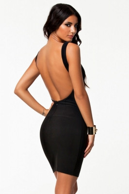 Bare Back Sexy Party Mini Dress