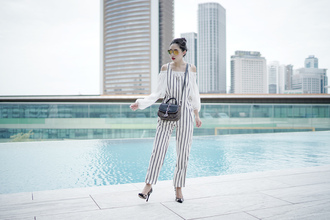 olivia lazuardy blogger sunglasses jumpsuit top bag shoes high heel pumps pumps white blouse black bag
