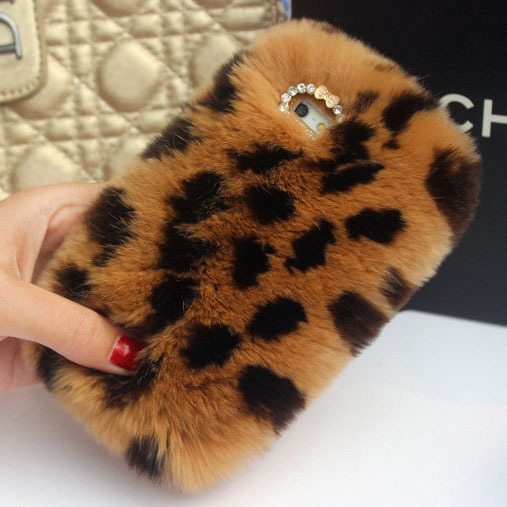 Leopard style real rex rabbit fur hair soft warm case for iphone 5 5s 6 6 plus