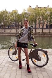 skirt,tumblr,mini skirt,zip,zipped skirt,vinyl,vinyl skirt,boots,red boots,net tights,hoodie,grey hoodie,jacket