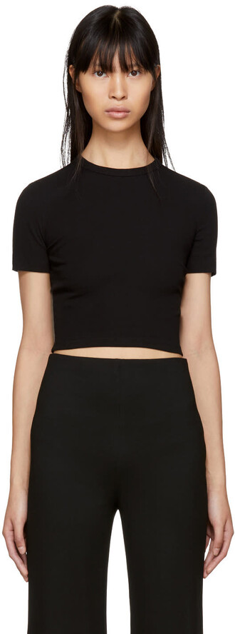 t-shirt shirt cropped t-shirt cropped black top