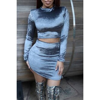 top grey fashion two-piece crop tops trendy fall outfits rose wholesale-dec