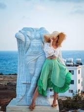 gvozdishe,blogger,hat,blouse,skirt,shoes,green skirt,summer outfits,straw hat