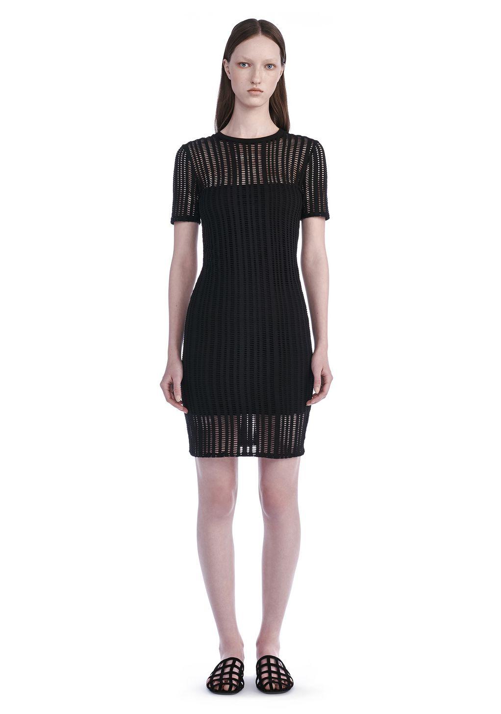 STRETCH JACQUARD SHORT SLEEVE DRESS   Short Dress   Alexander Wang Official Site