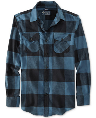 American Rag Frosty Plaid Flannel Shirt - Casual Button-Down Shirts - Men - Macy's