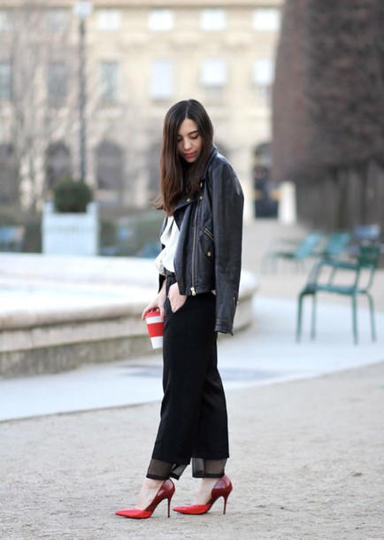 barock and roll blogger leather jacket black pants red heels