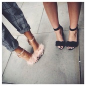 heels,fur sandals,faux fur sandal heels,furry heels,pink,mid heel sandals,furry high heels,shoes,nude heels,sandals,barely there sandals,fur,faux fur,glamour,fur heels,pants,monochrome,nice,girl,cute,gingham,style,fashion,hot,summer,spring,black trousers,nice outfit,pinterest,pink fur heals,grey pants,high heels,fluffy heels