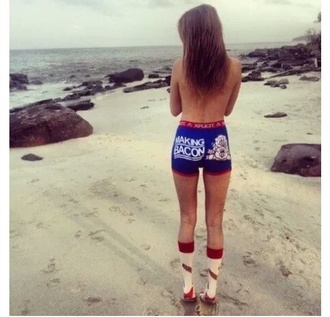 red underwear lingerie pig bacon walking bacon socks blue underwear high socks red underwear beach cover up