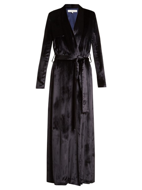 Galvan coat trench coat velvet navy