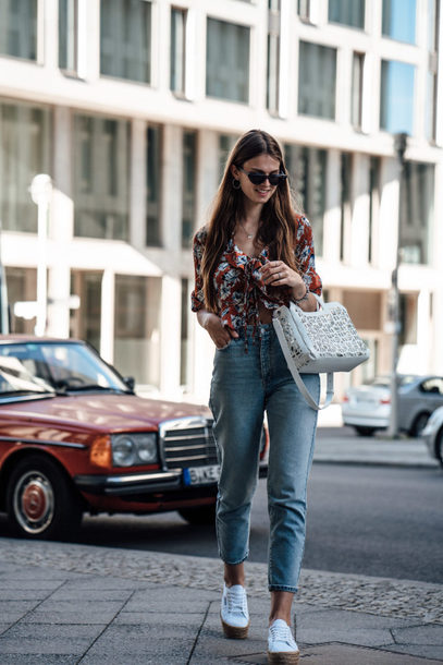 jeans shoes white shoes shirt bag denim mom jeans sunglasses