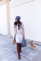 coat,tumblr,nude coat,boots,brown boots,over the knee boots,over the knee,denim,jeans,white jeans,beanie,grey beanie