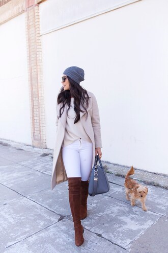 coat tumblr nude coat boots brown boots over the knee boots over the knee denim jeans white jeans beanie grey beanie