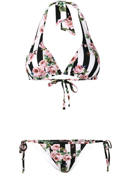 Dolce & Gabbana bikini striped bikini rose women spandex print swimwear