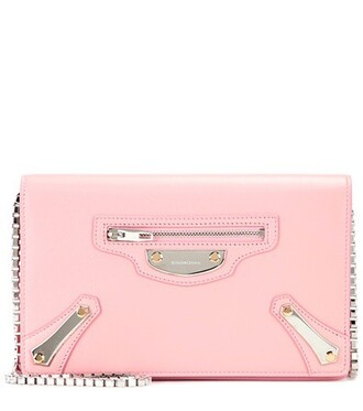 metal bag shoulder bag leather pink
