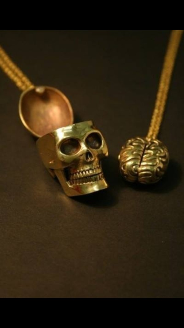 jewels friendship necklace brain skull gold necklace