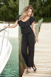 jumpsuit,black ruffle,ruffled collar,button accents,tie waist,straight,wide leg fit,mapalé