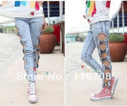 Hot sale east knitting free shipping wholesale classical vintage detailed woman side bow cutout ripped denim sexy jeans jn001