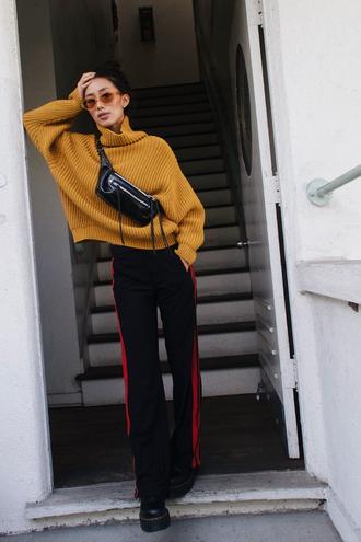 neon blush blogger sweater pants shoes sunglasses