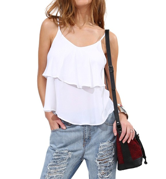 Double Layer Chiffon Cami Top
