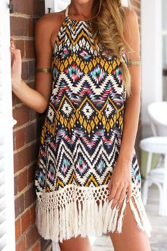 dress boho dress halter dress floral geometric fringed top tassel backless ethnic spaghetti strap top bottoms skirt clothes cute dress sexy dress summer dress beautiful fashion girly outfit sammydress