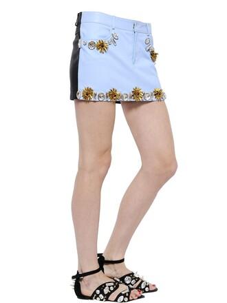 skirt mini skirt mini embellished leather blue black