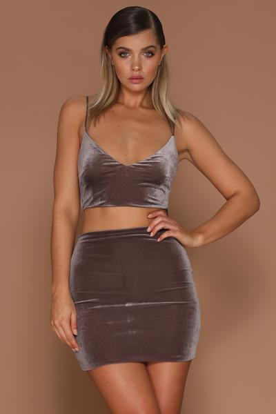 Rita Velvet Singlet Crop Top - Grey