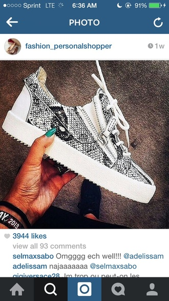 snake print sneakers zipper