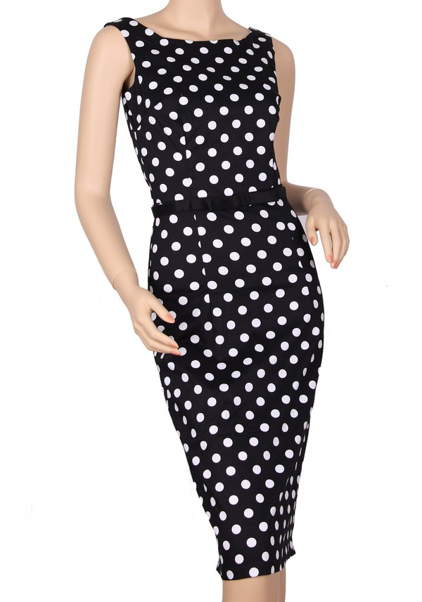 1940s 40s vintage retro black dress long dress pencil dress polka dots polka dots dress rockabilly dress housewife dress rockabilly