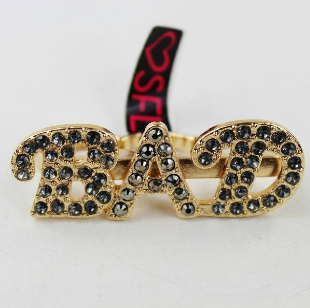 Hot&Sexy Gold Iced Out Rihanna Knuckle BAD Letter Crystal Stud 3 Finger Bling Ring-in Rings from Jewelry on Aliexpress.com