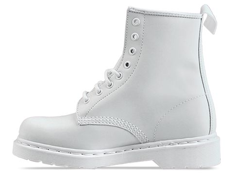Dr. martens 8 eye boot in white monochrome at solestruck.com