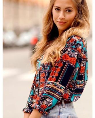 top bright shirt blouse boho hippie summer